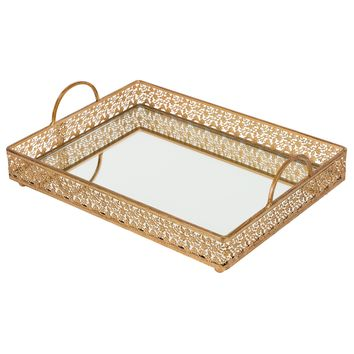 Vintage Large Rectangular Metal Mirror-Top Serving Tray (Gold)
