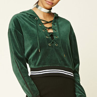 Velour Lace-Up Hoodie