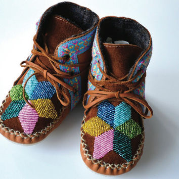 Children's handmade leather beaded wool-lined moccasin winter boots with wool felt insole and crepe rubber sole