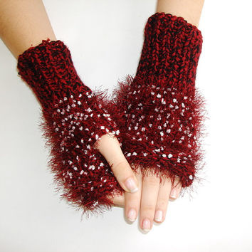 Burgundy white snowy Hand knit gloves, fingerless knit gloves