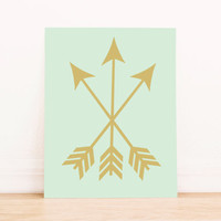 Arrows Mint and Gold Print PRINTABLE ART Dorm Decor Apartment Art Bathroom Art