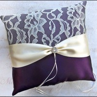 Wedding Ring Pillow Eggplant and Ivory