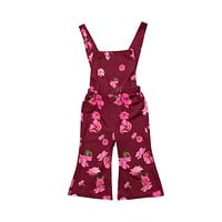 Toddler Kids Girls Summer Clothing Flower Overall Romper Sleeveless Flower Cute Jumpsuit Outfit Clothes Girl 1-6T