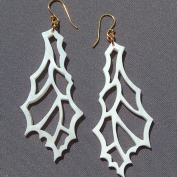 Hand Cut White Wing Earrings