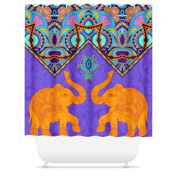 Indian Two Elephant Pattern Shower Curtain