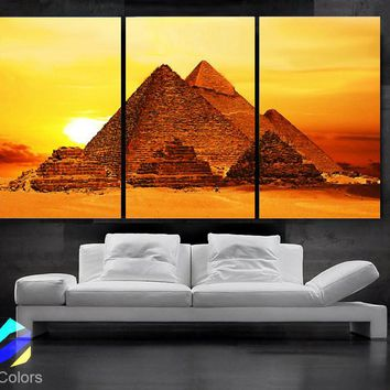 "LARGE 30""x 60"" 3 Panels Art Canvas Print beautiful Egypt Pyramid Sunset Wall Home (Included framed 1.5"" depth)"