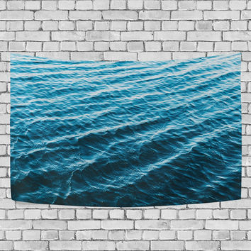Blue Ocean Wave Tapestry Sea Water Landscape Wall Hanging Art for Couches Dorm Room Home Decor