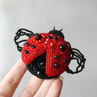 Brooch handmade beaded, beadwork embroidery ladybug ladybird, beetle, beautiful jewelry, brooch unique designer jewelry, gift ideas, for her