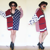 Vintage patriotic american flag red white blue star oversized sweater cardigan dress slouchy