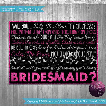 "Ask Bridesmaid Proposal Cards - ""Sparkle"" (Printable File Only) Be My Bridesmaid Be In My Wedding Ask Bridesmaid"