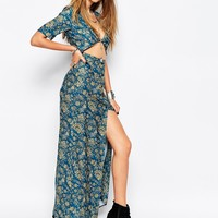 Reclaimed Vintage Maxi Button Front Shirt Dress In 70S Floral Print at asos.com