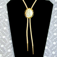 Lariat Y Necklace Cream Colored Marbled Pendant Vintage Collectible Gift Item 2044