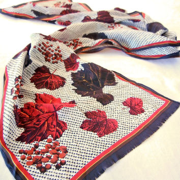 Oscar de la Renta Silk Scarf in Red and Brown Leaves and Berries Print, Long Narrow Sash Style
