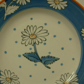 Mikasa China CA010 Daisy Chintz Pattern Blue Floral Polka Dot Laurie Gates Porcelain Salad Plates Set of 6