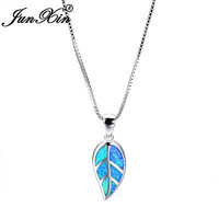 Women A Leaf Blue Fire Opal 925 Silver Pendant Necklace Chain Party Jewelry Gift