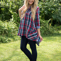 Time For Change Plaid Tunic - Navy