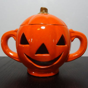Vintage Orange Ceramic Pumpkin with Cutout Face and Handles - Candle Holder for Battery Operated Tea Light Candles