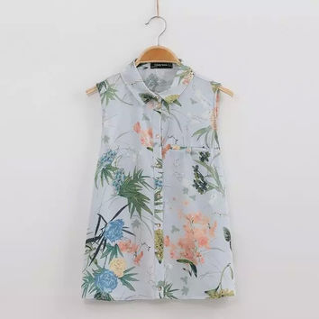 Summer Women's Fashion Print Sleeveless Blouse [6049285697]