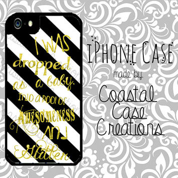 Black and White Striped with Gold Glitter Quote Apple iPhone 4 4G 4S 5G Hard Plastic Cell Phone Case Cover Original Trendy Stylish Design