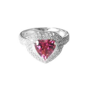Heart ring,Engagement Ring, rubellite Tourmaline ring, pave, diamonds, 14K White gold, Jewelry,marriage,anniversary ring, wedding party