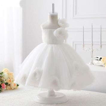 New first communion dresses for girls Luxury Ball Gown White Organza Flower Girl Dresses