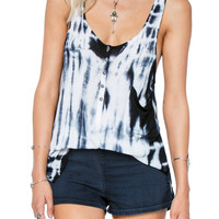 Amuse Society Shea Tie Dye Tank Top in Black Sands A9019SHE