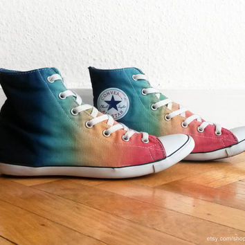 Multi-colour ombre Converse, dip dye upcycled vintage sneakers, Converse All Star Lite Hi, Chucks, eu 39 (25 cm insole, US Wo's 8)
