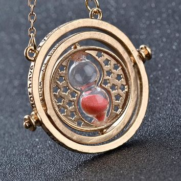 Hot Sale Harry Necklace Potter Time Turner Necklace Hourglass Pendant Hermione Granger Rotating Spins Necklaces For Women