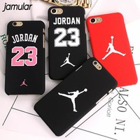JAMULAR Slim NBA Matte Case For iPhone X 7 6 6S Plus Hard Plastic Back Cover Jordan Case For iphone 7 8 6 6s Plus 5s SE Cover