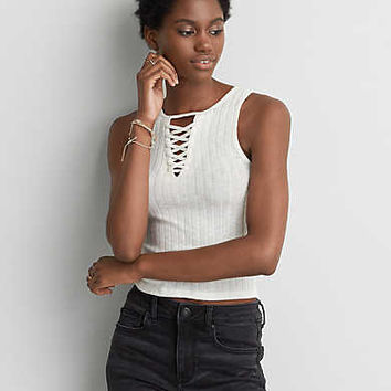 AEO Soft & Sexy Lace-Up Tank , Chalk