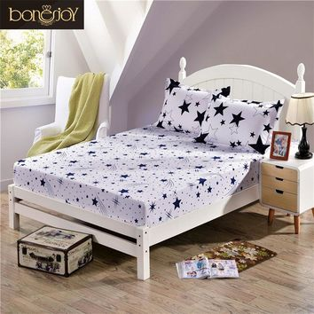 Bonenjoy Fitted Sheet with Elastic Black and White Stars Printed King Size Mattress Protector Bed Sheets with Pillowcase