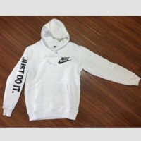 """NIKE"" ""Just do it"" Sleeve Women Men Fashion Hooded Top Pullover Sweater Sweatshirt White"