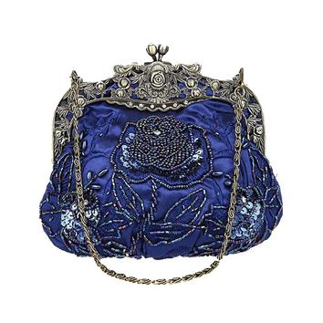2018 Vintage Women Rose Beaded Evening Party Wedding Clutch Bag Ladies Luxury Handmade Chain Shoulder Handbag Flap Shape Bridal