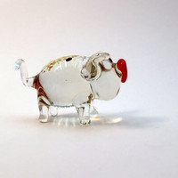 Glass piglet art glass home decor glass piglet fused glass piglet ornament art glass fused glass piglet murano glass handmade(161)