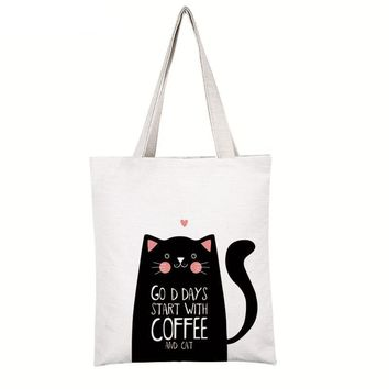 Women's Shoulder Bags - Good Days Start With Coffee And Cat - Canvas Shoulder Beach Tote Purse Canvas Handbags Totes Bags