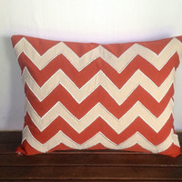 Orange/Rust and cream pillow cover-12x16 rectangle cushion cover IN STOCK