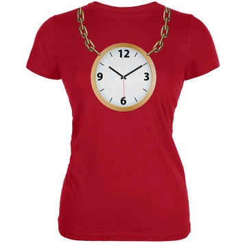 Clock Necklace Red Juniors Soft T-Shirt