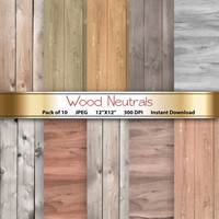 Wood Digital Paper: Wood Neutrals 12x12 Scrapbooking Papercrafting Cardmaking Invites - Instant Download Printable Real Wood Textures