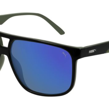 Puma - PU0200S Black Sunglasses / Blue Mirror Lenses