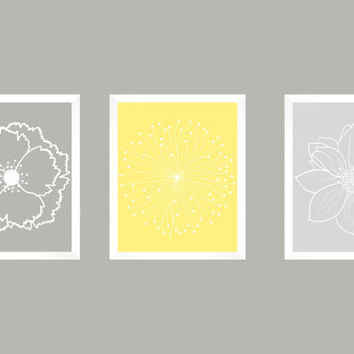 Set of 3 White Flower Blossoms on Grays and Light Yellow Prints CUSTOM COLORS Modern Art Prints for Nursery Decor Colors Modern prints  8x10