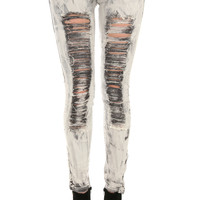 Destroyed Charcoal Washed Skinny Jeans | Hot Topic