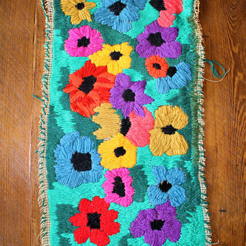 Large vintage handmade one of a kind colorful floral boho bright woven wall hanging tapestry