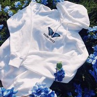 Yours Truly Blue Butterfly Hoodie - White