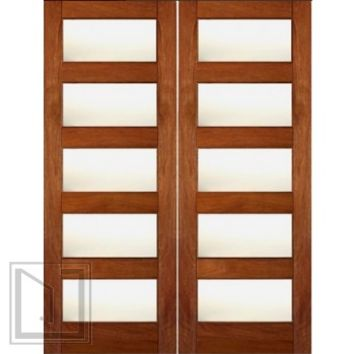 Contemporary Exterior Double Door, Mahogany, Matte Low-E Glass