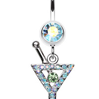 Martini Glass Sparkle Belly Button Ring