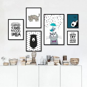 Nordic home decor bear wall Posters wall painting Canvas Art Print Wall Pictures Home Decoration poster Frame not include FC1082