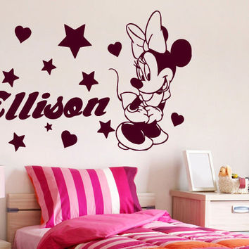 Minnie Mouse Wall Decals Girl Personalized Name Sticker Vinyl Nursery Decor SM76