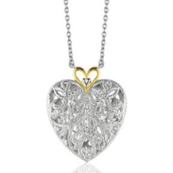 Sparkling Filigree Diamond Heart Pendant With Chain In 14k Yellow Gold and Sterling Silver