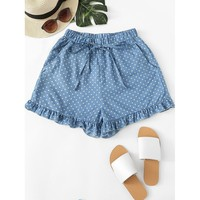Knot Front Frill Hem Polka Dot Denim Shorts