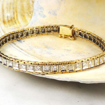 Vintage Diamond Bracelet 14k Gold Bracelet Diamond Tennis Bracelet Approx 1.5 CTS TDW Two Tone Gold Diamond Bracelet Eternity Bracelet